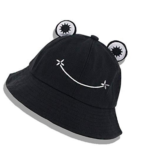 YBSOP Women Frog Bucket Hat Summer Travel Cotton Sunhat Fisherman Beach Cute Wide Brim Cap for Adults Teens Kids (Adults-Black)
