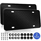 AHZI Silicone License Plate Frame 2-Pack, Black License Plate Holder, Car Front & Rear License Plate Frame Tag Cover, Rust-Proof, Rattle-Proof, Weather-Proof with Stainless Steel License Screws