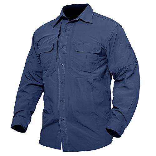 MAGCOMSEN Herren Militär Hemd Outdoor Reise Hemd Sommer Schnelltrocknendes Hemd für Herren Langarm Taktisch Hemd Leicht Angeln Arbeitshemd mit Multi Taschen Blau XL