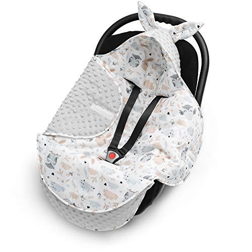 EliMeli Baby Einschlagdecke, Universal für Babyschale, Autositz, Kinderwagen Buggys und Babybett, Sehr Hohe Qualität, Minky Decke (Grau - Eulen und Hasen)