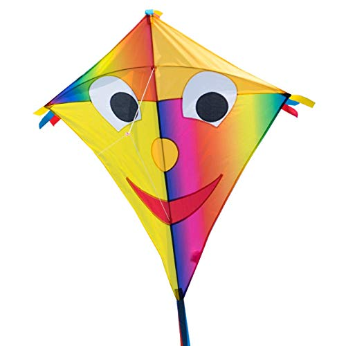 CIM Grande Aquilone - Super DRACHEN Happy Eddy Joker XL - Aquilone monofilo per Bambini a Partire da 6 Anni - 90x98 cm - comprende Corda per Aquilone da 80 m e Coda a Strisce