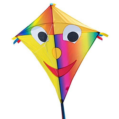 CIM Großer Kinder-Drachen - SUPER-DRACHEN Happy Eddy JOKER XL - Einleiner Flugdrachen für Kinder ab 6 Jahren - 90x98cm - inklusiv Drachenschnur und Streifenschwänze