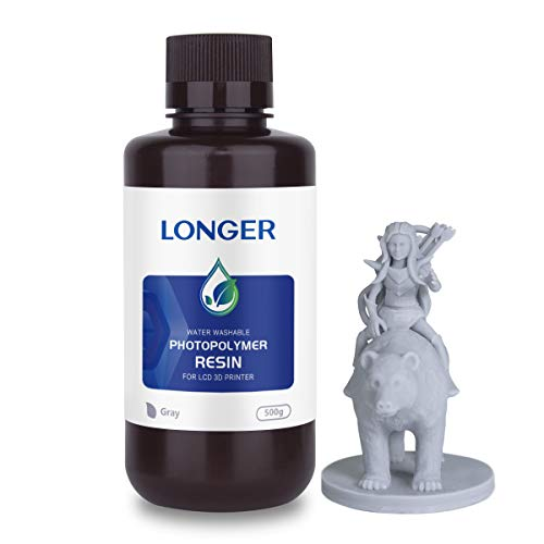LONGER Washable with water rapid resin for 3D printers, 405 nm fast photopolymer resin for LCD 3D printing, high precision and fast curing as well as easy cleaning (grey, 500 g)