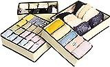 Organizador de Ropa Interior, Armario Cajones, 4 Cajas de Almacenaje Plegable, Organizador de Almacenamiento con Compartimento para Ropa Interior, Calcetines, Sujetadores, Corbatass,(Beige)
