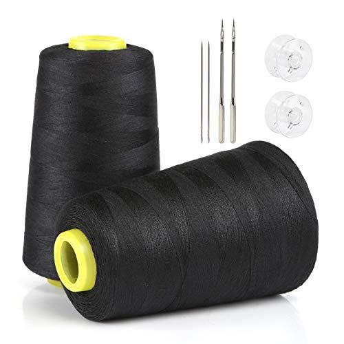 Lihao - 2 bobinas de hilos de coser de poliéster para máquina de coser, 2700 m, color negro + blanco