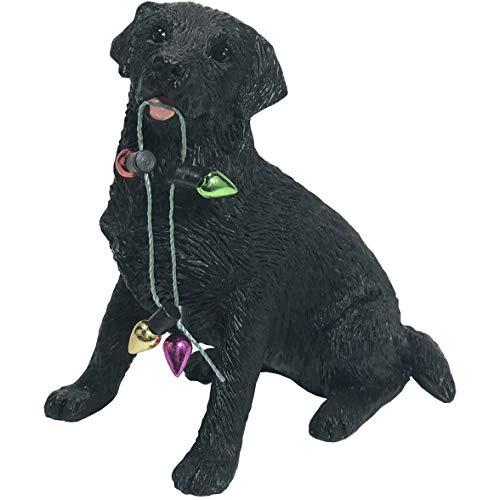 Sandicast Black Labrador Retriever with Holiday Lights Christmas Ornament