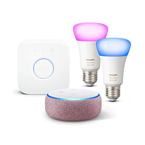 Echo Dot (3.ª generación), Tela de color malva + Philips Hue Bombilla Inteligente Starter Kit (2x E27), compatible con Alexa