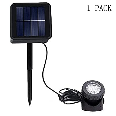 Outdoor LED Solar Landscape Spotlight, VEEKI 6 LED Waterproof Pond Light Underwater Light Security Lighting Dark Sensing Auto On/Off Adjustable Lighting Angle, for Outdoor Lawn Fish Tank Pool (1 Pack)