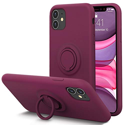 KUMEEK for iPhone 11 Case Fingerprint | Kickstand | Anti-Scratch | Microfiber Liner Shock Absorption Gel Rubber Full Body Protection Liquid Silicone Case for iPhone 11-WineRed