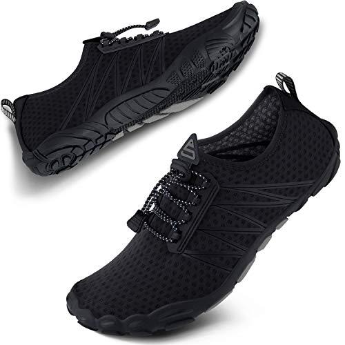 SEEKWAY Water Shoes Men Women Adult Quick-Dry Aqua Sock Barefoot for Beach Swim River Pool Lake Hiking Kayaking Surfing SP001(U) 406Black Size 8 Women/7 Men