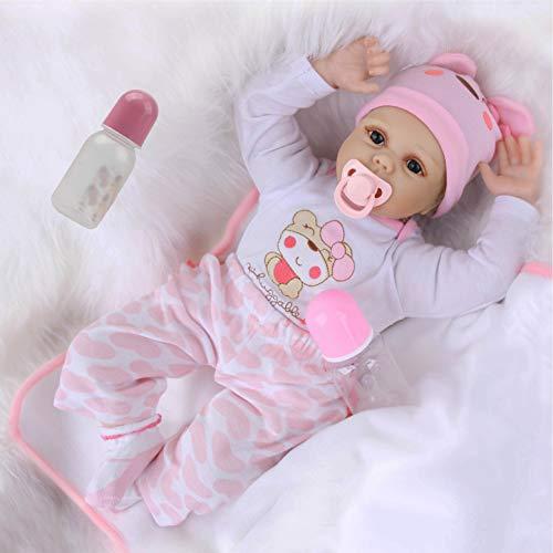 ZIYIUI 22 Pulgadas 55 cm Muñeca Bebé Reborn Niña Silicona Suave Vinilo Vida Real Realista Hecho a Mano Juguetes Apto para Mayores de 3 Años Reborn Dolls