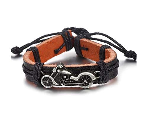 Bracciale in pelle per moto chopper, portachiavi in metallo argento/nero, con ciclomotori | regalo | Harley |