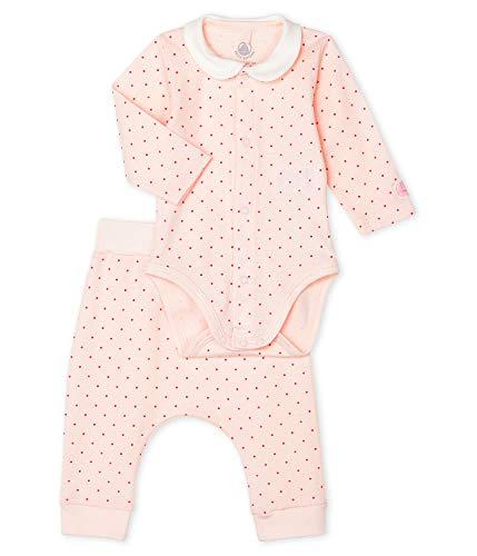 Petit Bateau zweiteiliges Set Langarmbody und Hose aus RIPP-Strick gepunktet rosa Groesse 12 Monate