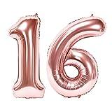 Siumir Numéro Ballons 16 Ans Géant Ballons en Or Rose Foil Helium Ballons Fête d'anniversaire Ans Anniversaire Décoration