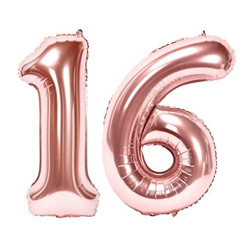 Siumir Globos de Número Número 16 Oro Rosa Globos Digital Grande Papel De Aluminio Globos Decoración de Fiestas de Cumpleaños