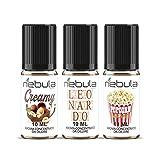nebula | kit 3 aromi cremosi da 10ml | aroma concentrato creamy, leonardo, popcorn caramel | cioccolato cocco nocciola caramello popcorn made in italy