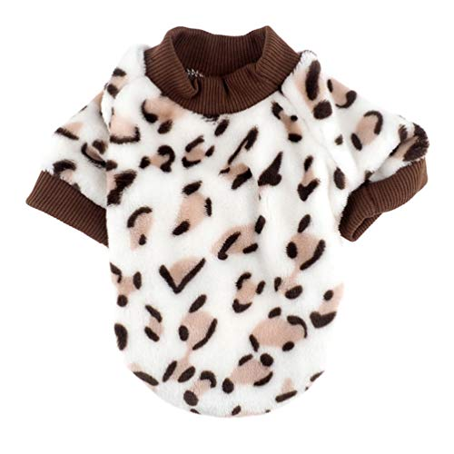 Balacoo Pet Winterkleidung Fleece Hund Warme Pullover Leopard Katze Mäntel Kostüm Pjs Jacken Pet Overall Versorgung für Hunde Welpen Katzen Größe S