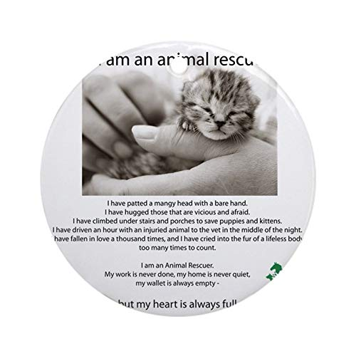 I Am An Animal Rescuer Round Christmas Hanging Ornament Made in USA