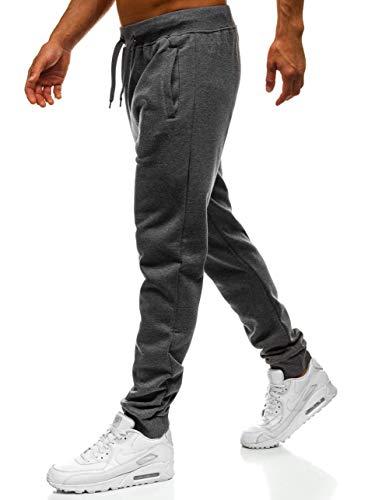BOLF Herren Jogginghose Sporthose Trainingshose Jogger Sweathose Fitnesshose Jogpants Fußballhose Sweatpants Beinabschluss Pants Baumwolle Slim Fit J.Style XW01 Dunkelgrau M [6F6]