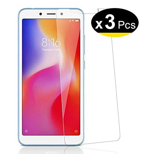 NEW'C 3 Unidades, Protector de Pantalla para Xiaomi Redmi 6, Xiaomi Redmi 6A, Antiarañazos, Antihuellas, Sin Burbujas, Dureza 9H, 0.33 mm Ultra Transparente, Vidrio Templado Ultra Resistente