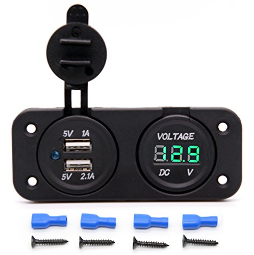 Cllena Waterproof Dual USB Charger Adapter 2.1A/1.0A + 12V-24V LED Voltmeter Panel for Motorcycle Car Boat Marine Carvan (Green LED)