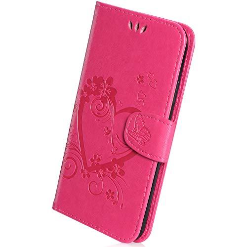 Herbests Coque Compatible avec Galaxy A6 2018, Coque PU Cuir Flip Wallet Protective Case Housse Etui avec Fonction Stand et Fentes de Carte de Crédit Flexible,Rose Rouge