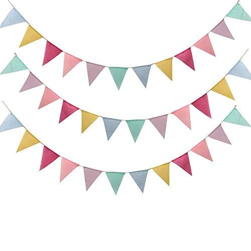 Ritte Banderines Banderas, Multicolor Banderines de Tela Banderines de Arpillera de Imitación Banderas de Triángulo para Boda Cumpleaños Celebracion Fiesta