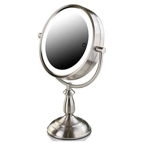 Ovente 7.5 Inch Lighted Tabletop Vanity Makeup Mirror with 10X Magnification 3 Tones LED Lights Cosmetics Beauty Double Sided Desk Mirror Powered by Battery or AC Adapter Nickel Brushed (MPT75BR1X10X)