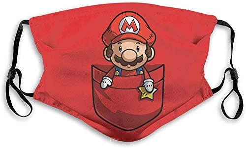 SYEA Super-Mario - Pañuelo reutilizable con protección de filtro lavable para adultos, niños y hombres, color rojo