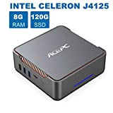Mini PC,Intel Celeron J4125,8GB RAM+120GB ROM,Windows 10 Pro(64-bit),Supporto 2.5'' SATA S...