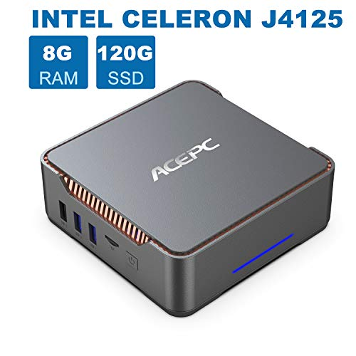 AK3 Mini-PC, 8GB DDR4 120GB eMMC, Intel Celeron J4125 Prozessor 4 Kerne Desktop-Computer, Windows 10 Pro (64 Bit), 4K 60 Hz, UHD Graphics 600, HDMI- und VGA-Ausgang, Gigabit LAN, 2,4G /5,0G WiFi