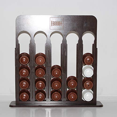 Dispensador organizador cápsulas de café Dolce Gusto en madera. Soporte cápsulas Dolce Gusto. Modelo en vertical. (Capacidad para 25 cápsulas) Medida 37x33x8.5 cm. (WENGUE)
