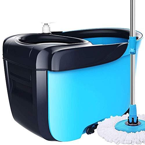 SHJMANJZ Mopp- und Eimersets Bester direkter automatischer Reinigungsmopp mit 2 Mikrofaser-Moppköpfen aus Edelstahl für die automatische Reinigung von Hartholz-, Marmor-, Fliesen-, Laminat- oder Kera