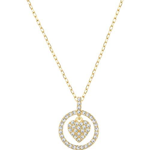 Swarovski Damen-Kette mit Anhänger Crocus Heart teilvergoldet Glas weiß - 5128098