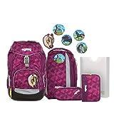 ergobag pack Set - ergonomischer Schulrucksack, Set 6-teilig - NachtschwärmBär - Pink