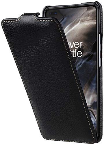 StilGut UltraSlim entwickelt für OnePlus Nord Hülle aus Leder - OnePlus Nord Flip Hülle, Klapphülle, Handyhülle, Lederhülle - Schwarz