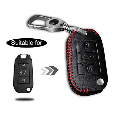 Schlüssel Hülle Leder Auto Schlüsseltasche Mit Schlüsselanhänger Für 3 Tasten Klappschlüssel Fernbedienung Autoschlüssel Rotes Nähen 1 Stück Modell A Auto
