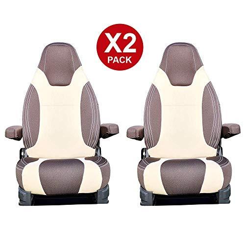 KFoam.es Sitzbezug für Fahrer-/Beifahrersitz von Wohnmobilen, Schokoladenbraun / Beige
