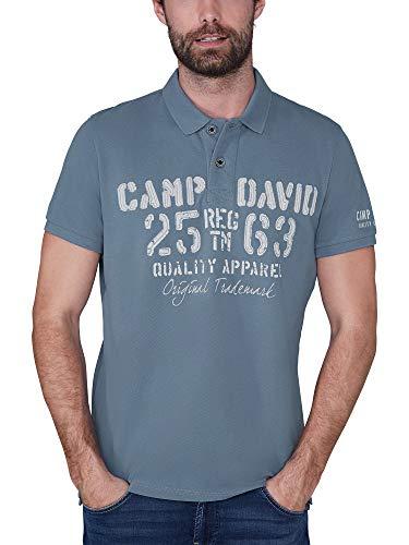 Camp David Herren Poloshirt aus Piquee mit Logo-Applikationen, Cliff Grey, XL