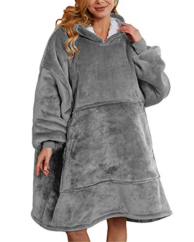 Aujelly Oversized Sweatshirt Blanket Unisex Sherpa Hooded Blanket Portable Cuddly Blanket with Sleeves and Pocket Grau