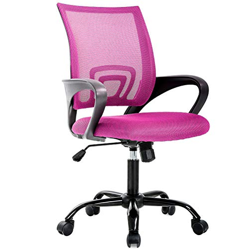 Ergonomic Office Chair Cheap Desk Chair Mesh Computer Chair Back Support Modern Executive Chair Task Rolling Swivel Chair for Women, Men(Pink)