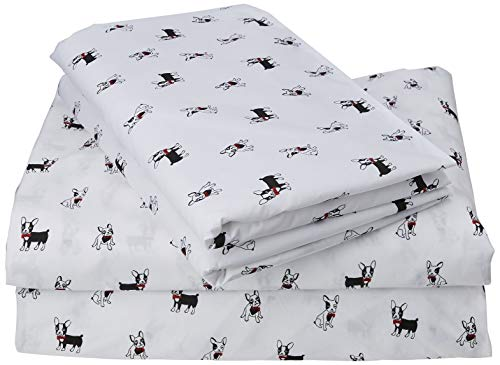 Poppy & Fritz | Percale Collection | Bed Sheet Set - 100% Cotton, Crisp & Cool, Lightweight & Moisture-Wicking Bedding, Queen, Frenchie