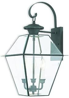 Livex Lighting 2381-61 Westover 3 Light Outdoor Wall Lantern, Charcoal