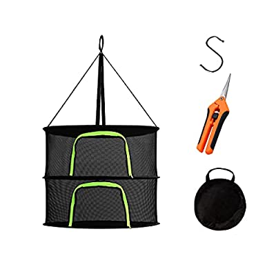 Maxasy Herb Drying Rack 2 Tier 2ft Black Mesh Hanging Dry Dryer Net with Pruning Shear for Hydroponics Plants Buds