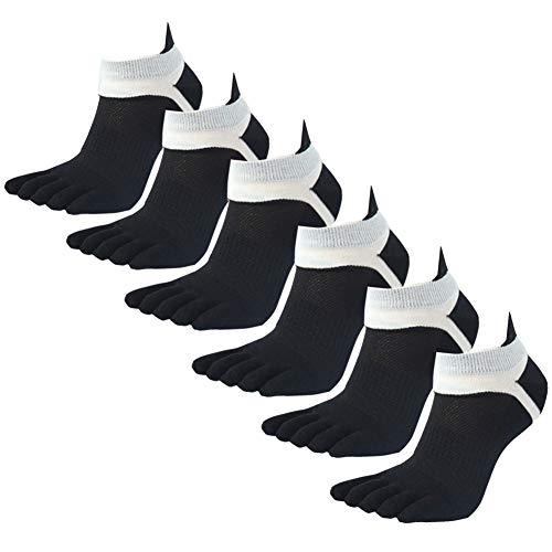 Panegy - Calcetines de 5 Dedos Para Homnbres Deportes de Algodón Transpirablle 6 pares de Calcetines Cortos Sport Running Yoga Fitness - Negro