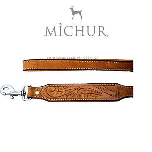 MICHUR Felipe Leine Hundeleine Leder, Flachleine, Lederleine Hund, PASSEND ZUM Halsband Felipe Beige, Braun Leder Gr. (ca.) 120x2,5cm
