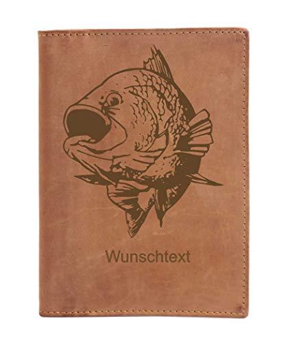 Greenburry Dokumentenmäppchen Leder Ausweismappe Angelschein mit Fisch Motiv + Wunschname