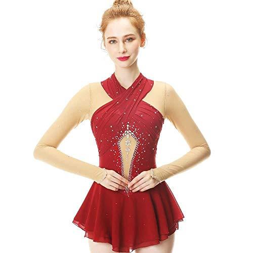 Skating Suit Wijn Rode Lange Mouw Chinese Figuur, Geschikt voor Vrouwen En Kinderen