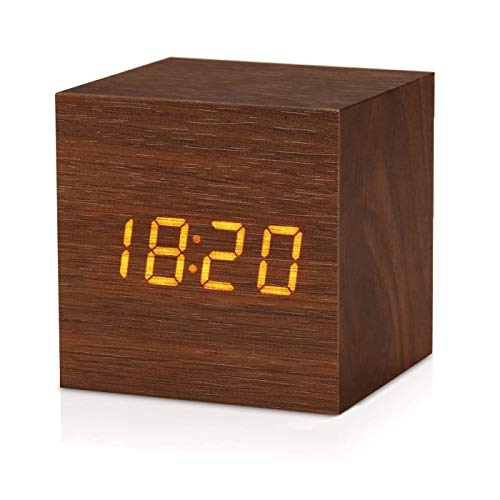 Wooden Digital Alarm Clock, Little Cube Clock with 7 Levels Scroll Dimmer, 5 Levels Alarm Volume, Weekend Alarm, Temperature Display, Snooze, Outlet Powered, for Bedroom, Office, Desk (Blown)……