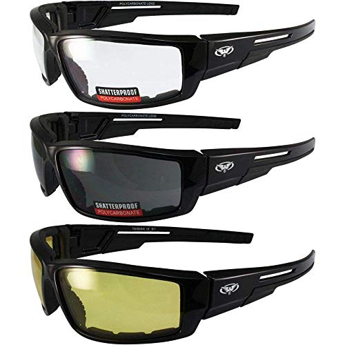 3 Pair of Global Vision Sly Padded Motorcycle Sunglasses Gloss Black Frames 1 Clear 1 Smoke Lens and 1 Yellow Lens